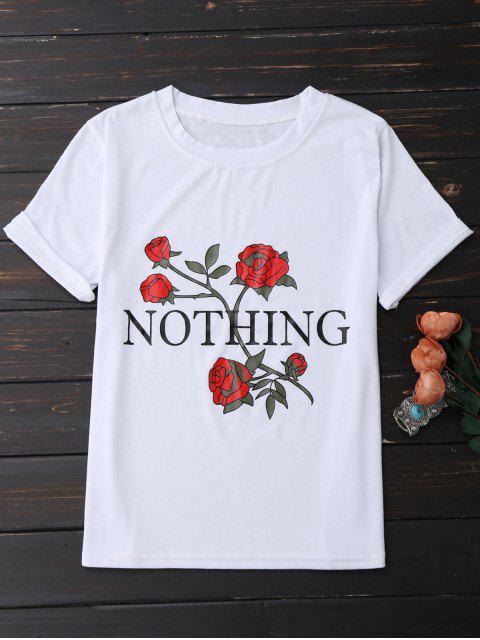 T-shirt à manches courtes à motif de rose et de