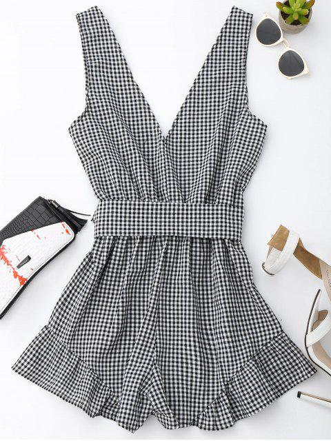 outfits Checked Plunge Romper - BLACK M Mobile
