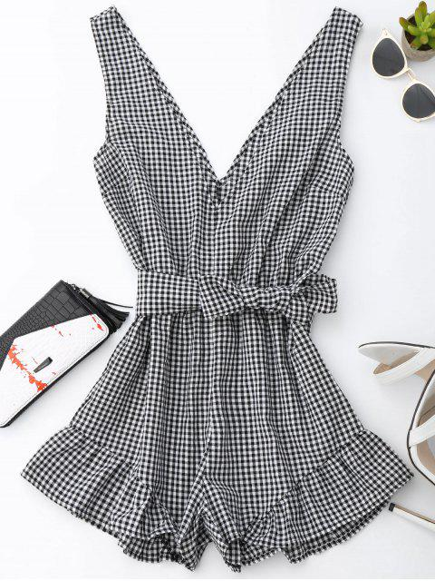 shop Checked Plunge Romper - BLACK L Mobile
