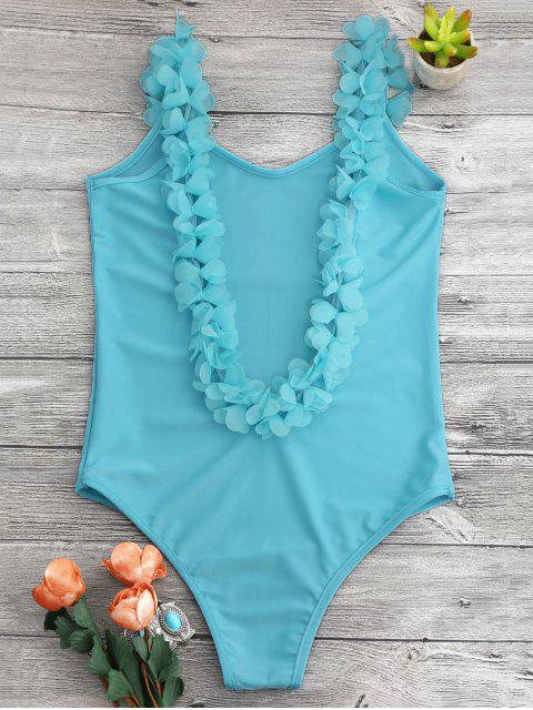 fashion 3D Floral Straps Open Back Swimsuit - LAKE BLUE ONE SIZE Mobile