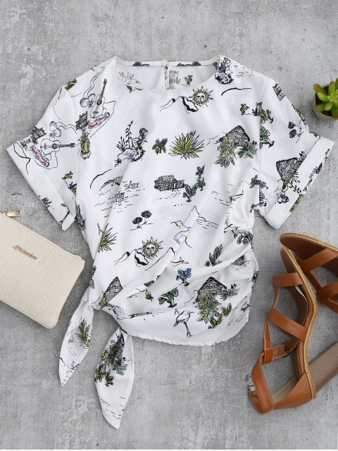 chic Printed Side Tie Poplin Top - WHITE L Mobile