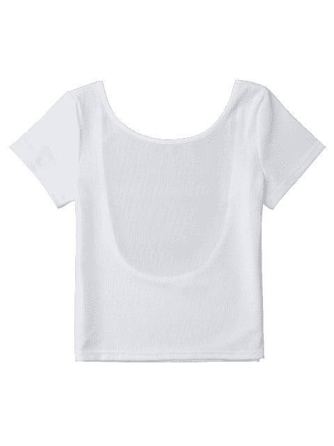 sale Ribbed Low Back Crop Top - WHITE S Mobile