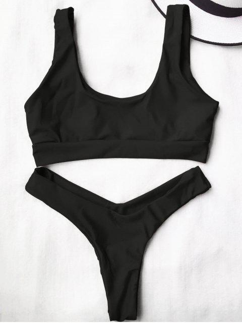 unique U Neck Bralette Thong Bikini Set - BLACK S Mobile