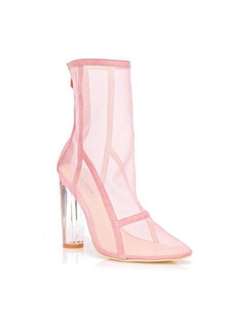 ladies Mesh Clear Heel Zipper Boots - PINK 37 Mobile