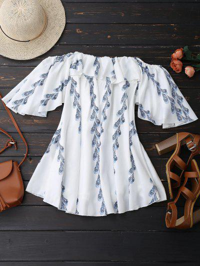 Off Shoulder Butterfly Sleeve Ruffle Dress - White M