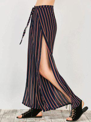 High Split Wide Leg Palazzo Pants - Stripe M