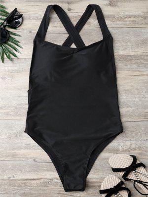 Open Back High Cut One Piece Swimsuit - Black L