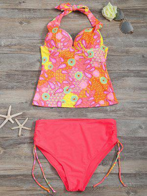 Tankini à L'élastique Paisley High Waisted - Rose Fluo S