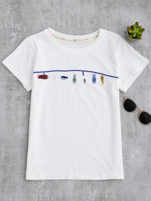 Cute Fish Embroidered T-Shirt - White