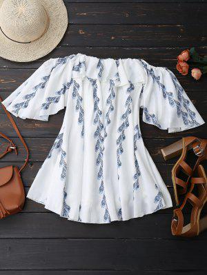 Off Shoulder Butterfly Sleeve Ruffle Dress - White S