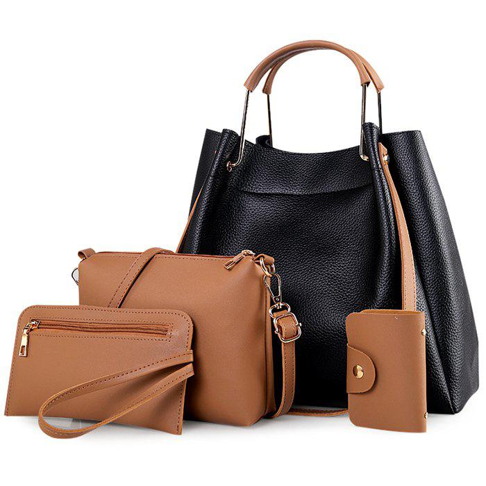 4 Pieces Metal Handle Tote Bag Set
