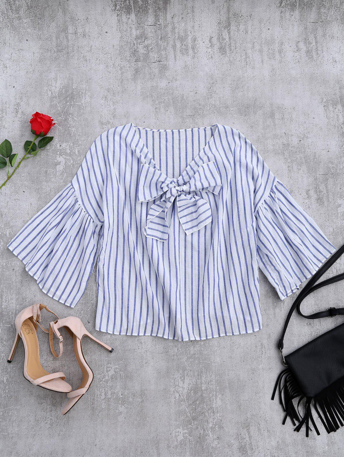 flare sleeve striped knot front top