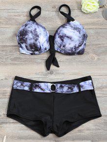 Soutien-gorge à Bikini Assorti à L'assortiment De Cravates Avec Des Boxeurs - Noir S