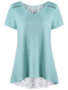 Plus Size High Low Saum Lace Insert T-Shirt - Minze 5xl