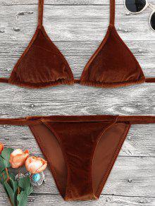 Halter Velvet Thong Bikini Set - Brown L