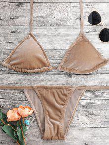 Halter Velvet Thong Bikini Set - Camel Xl