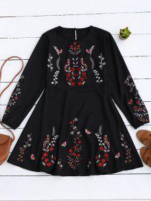 Robe A-ligne Vintage à Broderie Florale - Noir S