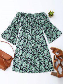 Leaf Print Flare Sleeve Shoulder Dress - PURPLISH BLUE M