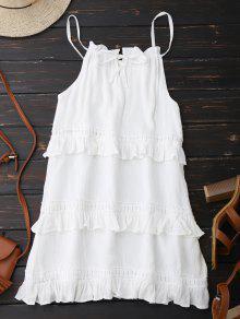 Vestido De Verano Con Volantes Con Tirante Fino - Blanco S