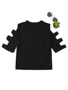 Mock Neck Cut Out Sleeve Cropped Top - Black L