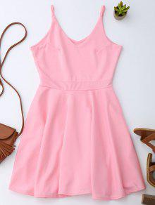 Spaghetti Straps Skater Dress - PINK XL