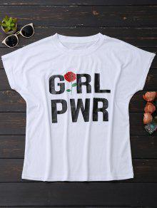Short Sleeve Rose Graphic T-Shirt - White S