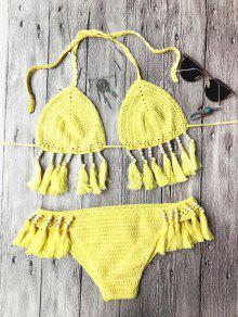 Beads Tassels Crochet Bikini Swimwear - Yellow