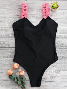 Bañador De Tirante Floral De 3D Con Espalda Descubierta - Negro