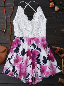 Open Back Lace Floral Wide Leg Romper - White M