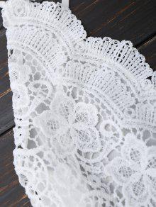 ac6de2c1ace 24% OFF  2019 Open Back Lace Floral Wide Leg Romper In WHITE