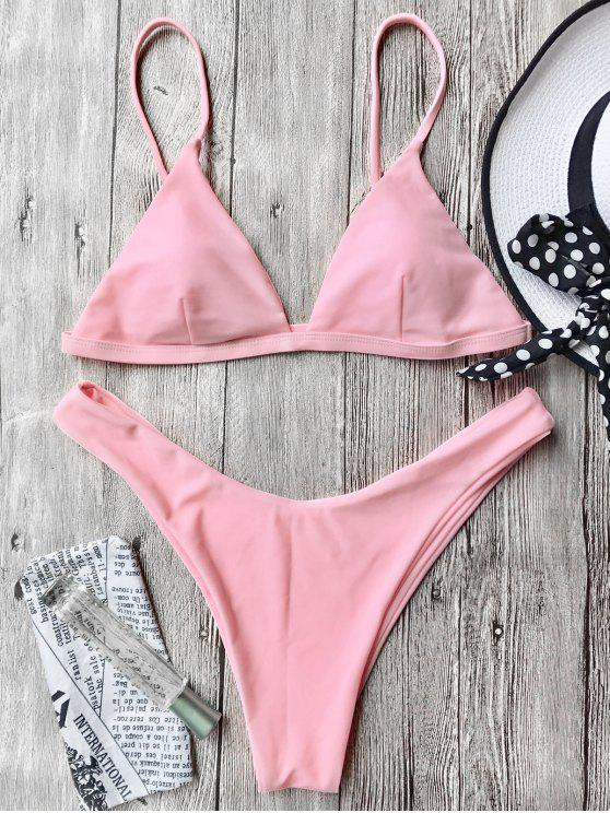 women's Cami Soft Pad Thong Bikini Set - PINK S