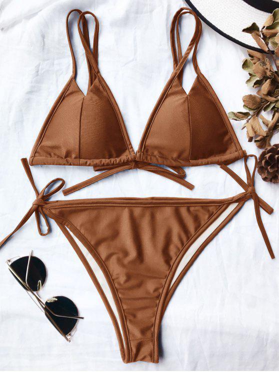 Doble correa acolchada de alta corte conjunto de bikini - Amarillo Profunda S