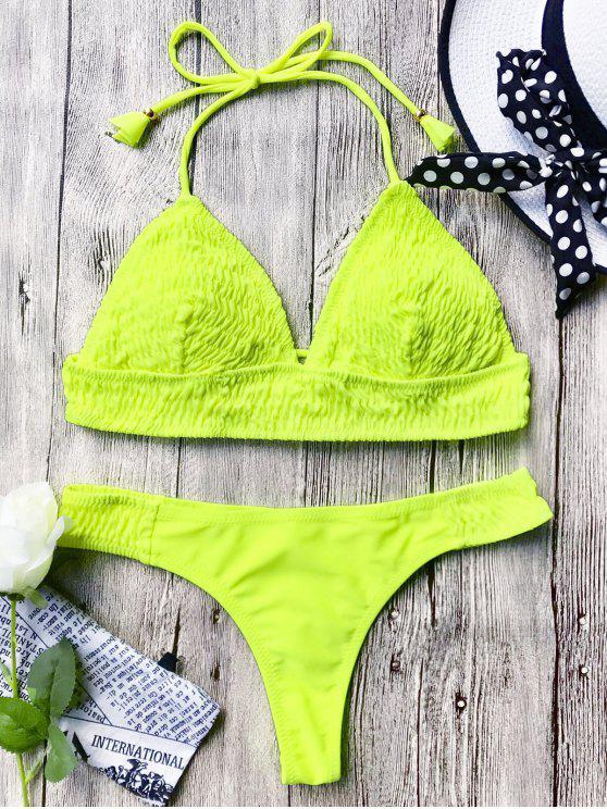 Smocked Bikini Bajo Halter escotado - Neón Amarillo M