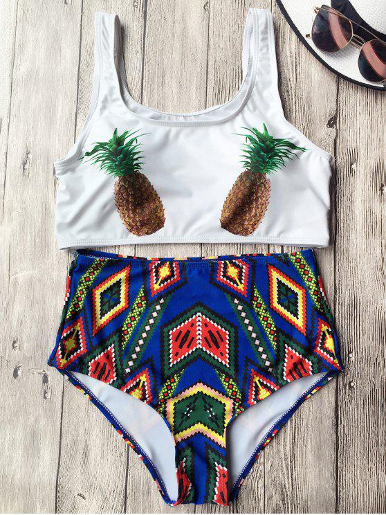 outfit High Waist Argyle Pineapple Bathing Suit - WHITE XL