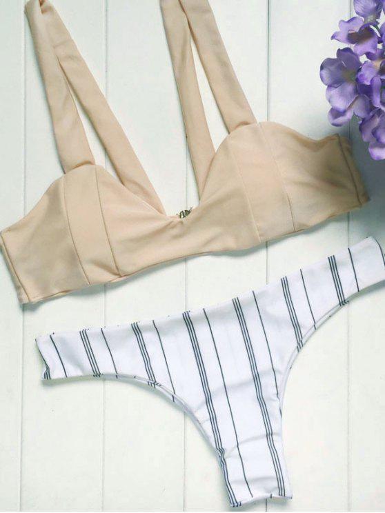Spaghetti Straps Striped Bikini Set - Colormix S