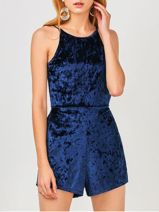 ladies Cami Open Back Velvet Romper - CERULEAN M