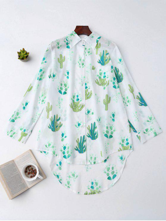 High Low Cactus Camisa de impresión Loungewear - Blanco M