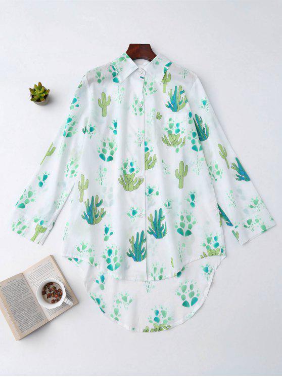 new High Low Cactus Print Shirt Loungewear - WHITE M