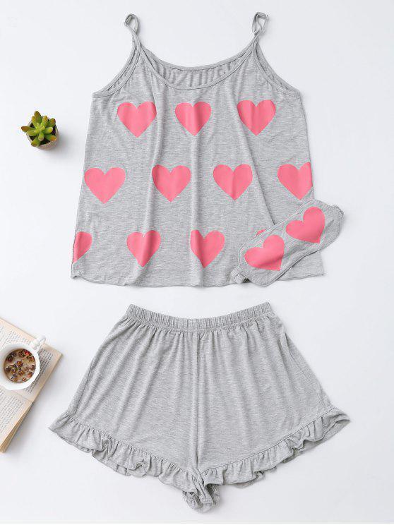 fashion Heart Pattern Cami Top with Ruffles Shorts - GRAY M