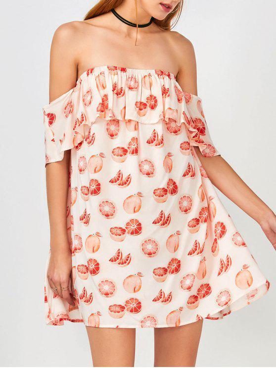 Friut Stampa fuori dalla spalla Dress Casual - Floreale M