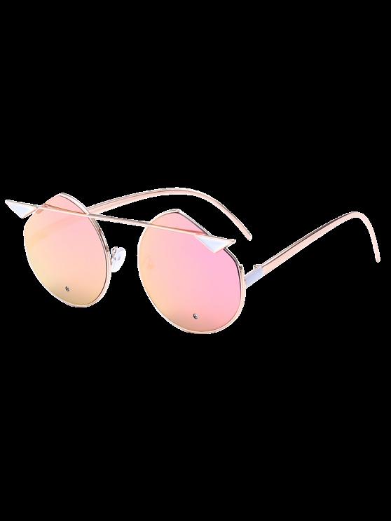 القط العين المعادن عاكسة قطع النظارات المتطابقة - الذهب الإطار + الأرجواني أخضر عدسة