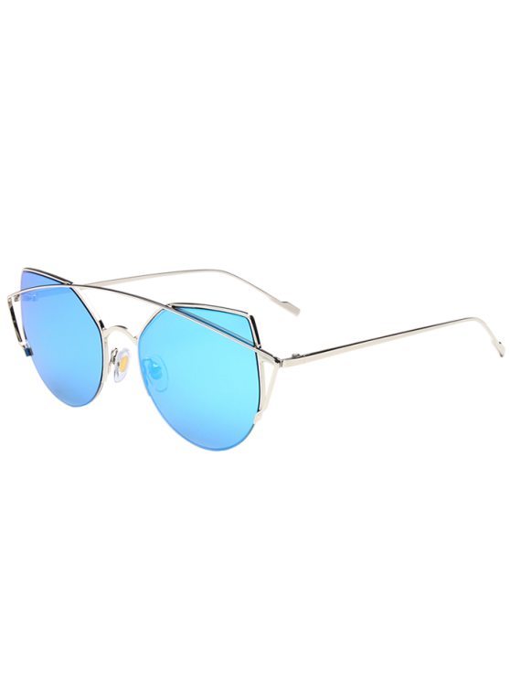 48be38fe616 8% OFF  2019 Metal Crossbar Cat Eye Mirrored Sunglasses In SILVER ...