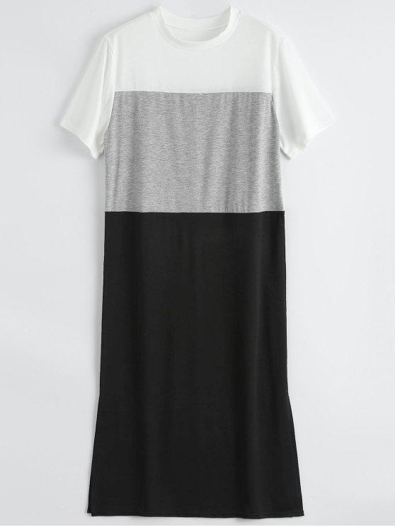 Color Bloque Slit Shift Camiseta Vestido - Negro L