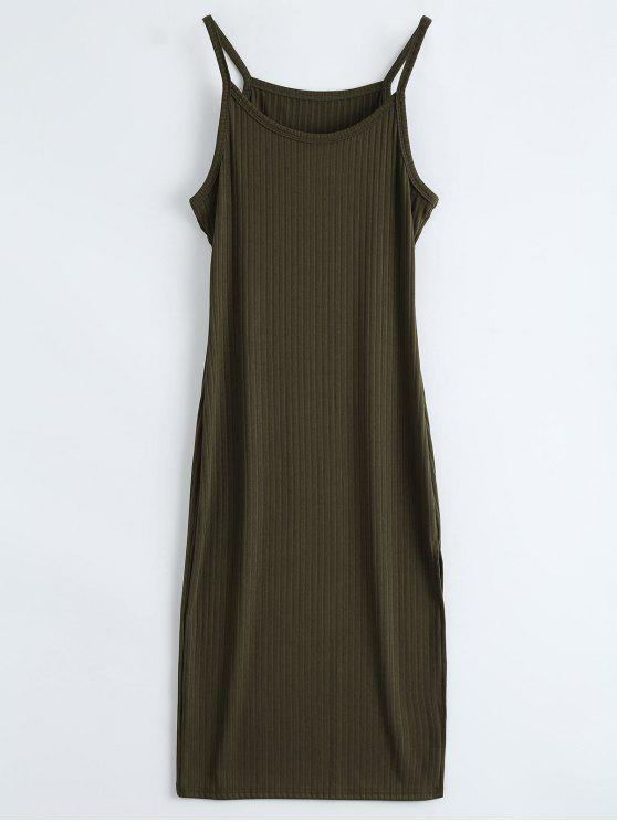 Ribbed Slit Bodycon Tank Dress - Exército verde L