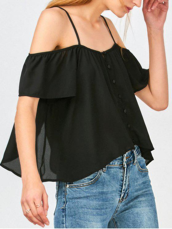 best Button Up Cold Shoulder Top - BLACK L