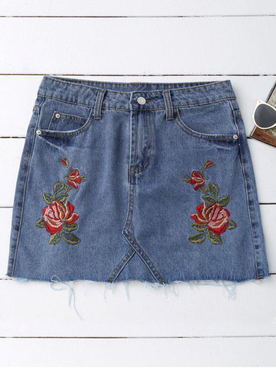online Rose Embroidered Denim Skirt - DENIM BLUE L