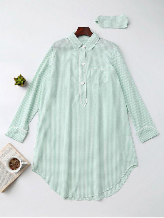Camisa Plaid Heart Button Loungewear con la venda de ojos - Verde Claro XL
