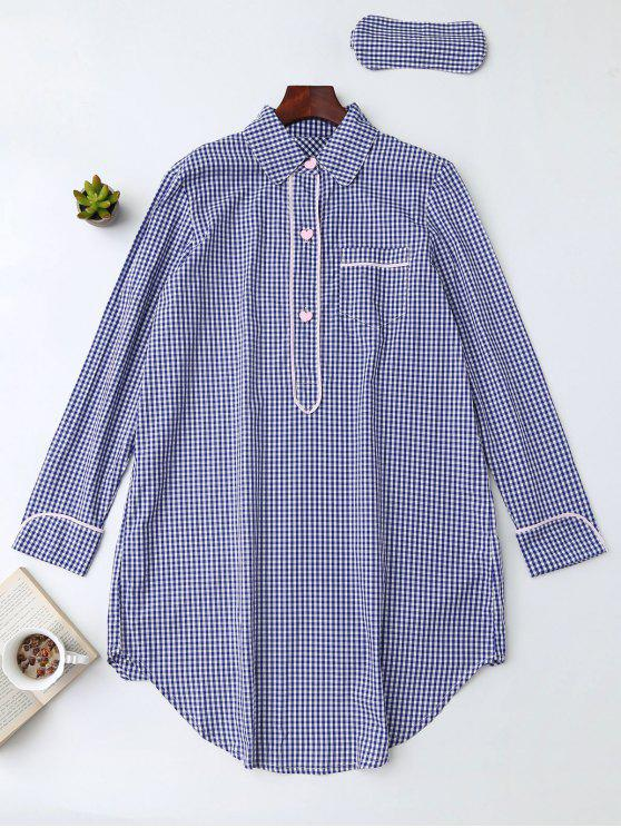 Camisa Plaid Heart Button Loungewear con la venda de ojos - Azul S