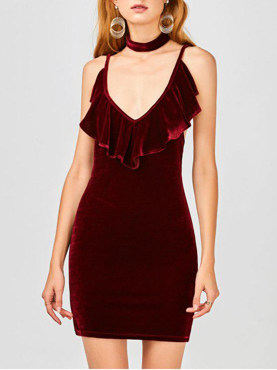 outfits Ruffles Velvet Bodycon Dress - WINE RED M
