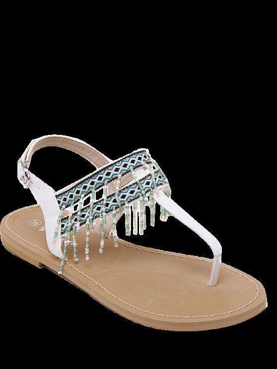 lady Fringe Geometric Pattern Beading Sandals - WHITE 39
